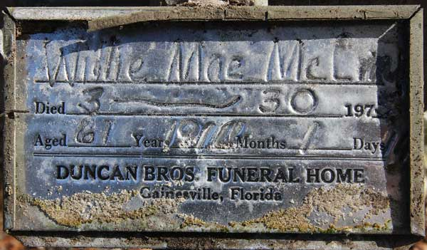 Willie Mae McLin Gravestone Photo