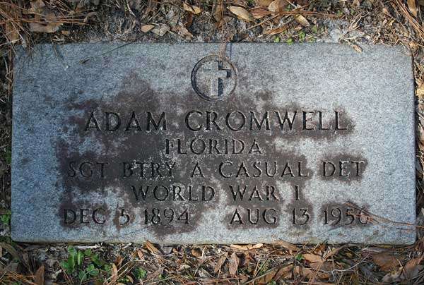 Adam Cromwell Gravestone Photo