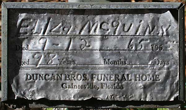 Eliza McQuinn Gravestone Photo