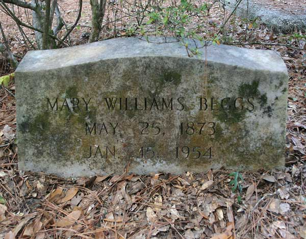 Mary Williams Beggs Gravestone Photo