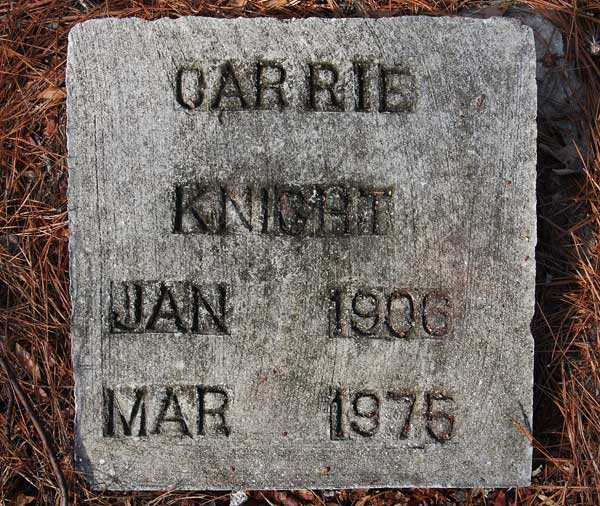 Carrie Knight Gravestone Photo