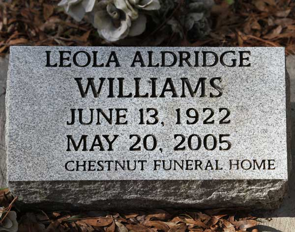 Leola Aldridge Williams Gravestone Photo