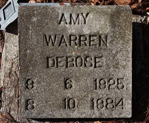 Amy Warren DeBose Gravestone Photo
