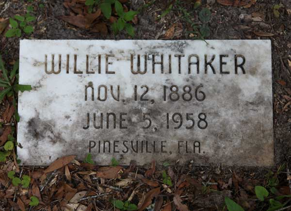Willie Whitaker Gravestone Photo