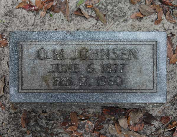 O.M. Johnsen Gravestone Photo