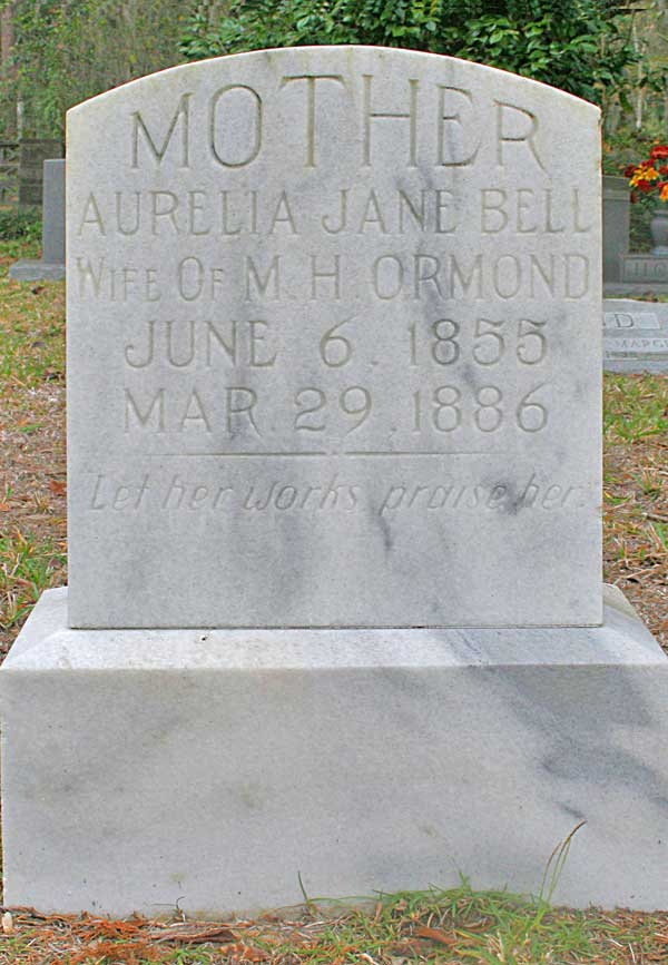 Aurelia Jane Bell Ormond Gravestone Photo