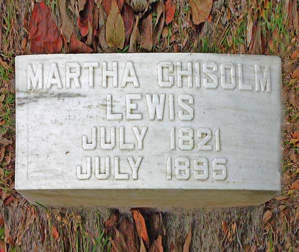 Martha Chisolm Lewis Gravestone Photo