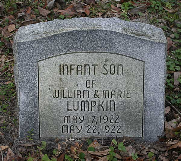 Infant Son Lumpkin Gravestone Photo