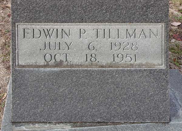 Edwin P. Tillman Gravestone Photo