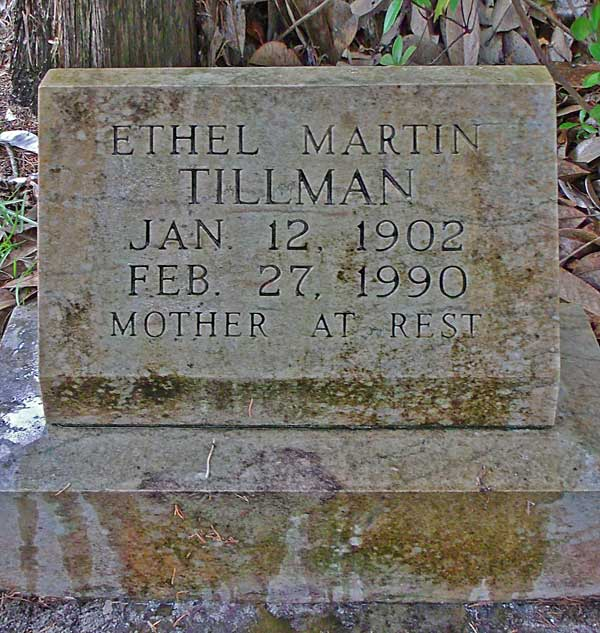 Ethel Martin Tillman Gravestone Photo