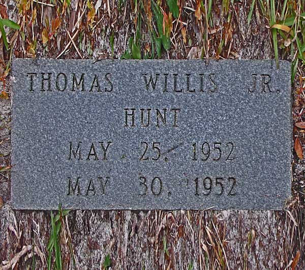 Thomas Willis Hunt Gravestone Photo