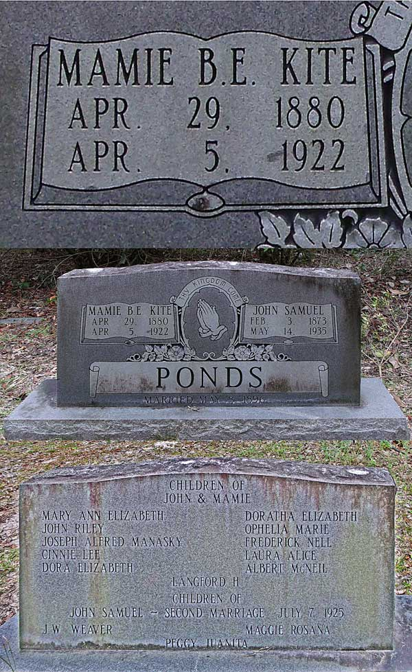 Mamie B.E. Kite Ponds Gravestone Photo