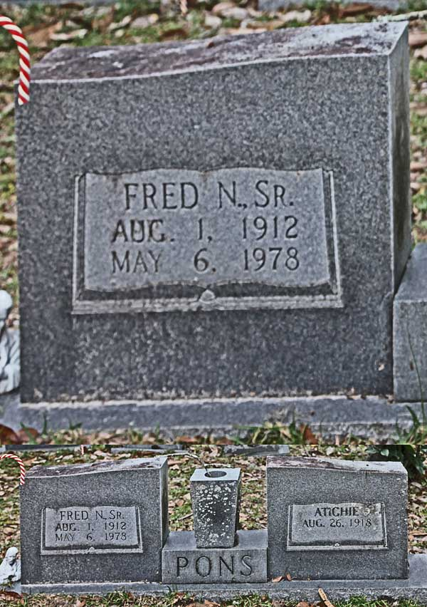 Fred N. Pons Gravestone Photo