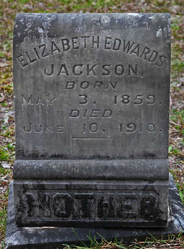 Elizabeth Edwards Jackson Gravestone Photo