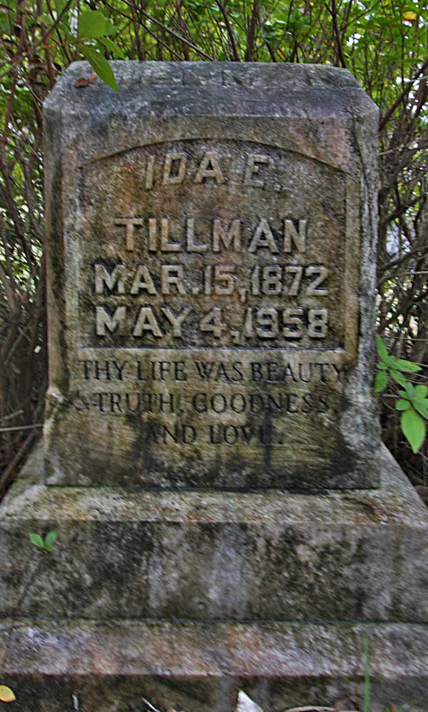 Ida E. Tillman Gravestone Photo