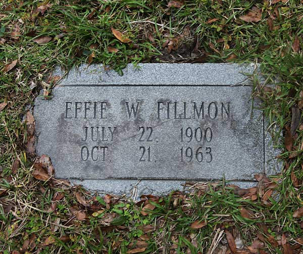 Effie W. Fillmon Gravestone Photo