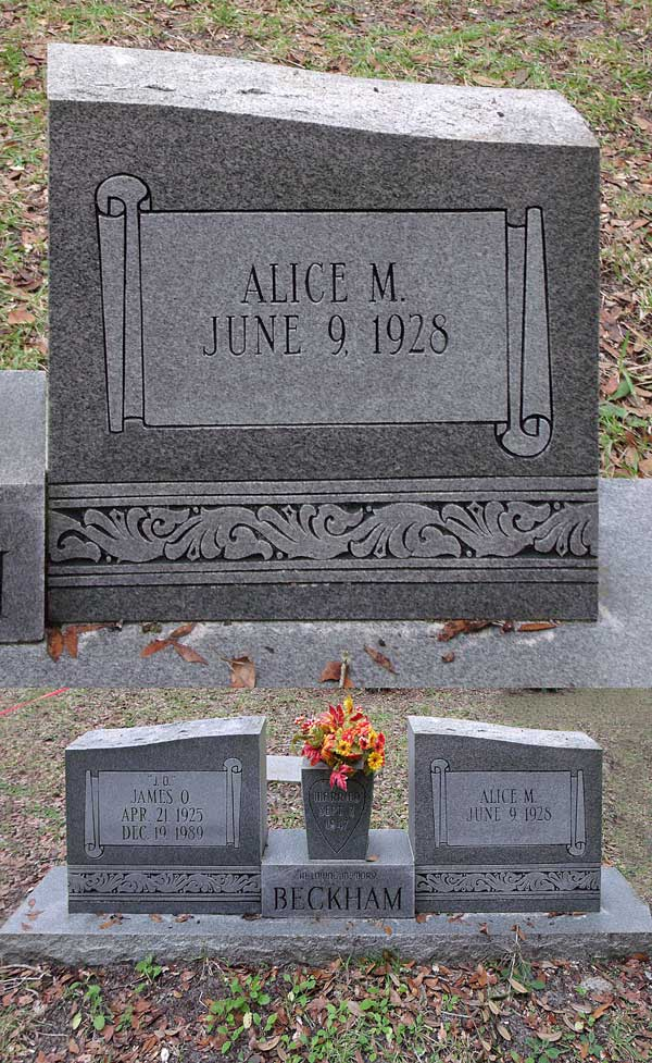 Alice M. Beckham Gravestone Photo