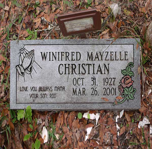 Winifred Mayzelle Christian Gravestone Photo