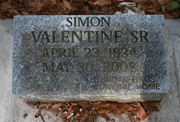 SIMON VALENTINE Gravestone Photo