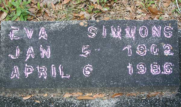 Eva Simmons Gravestone Photo