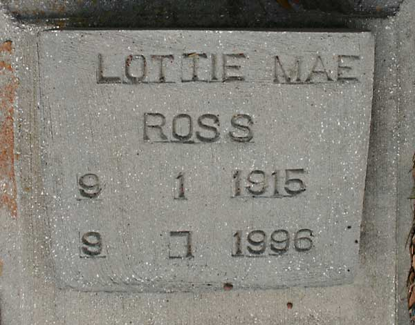 Lottie Mae Ross Gravestone Photo