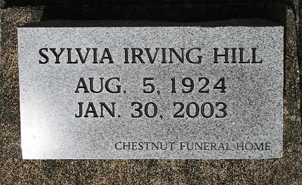 Sylvia Irving Hill Gravestone Photo