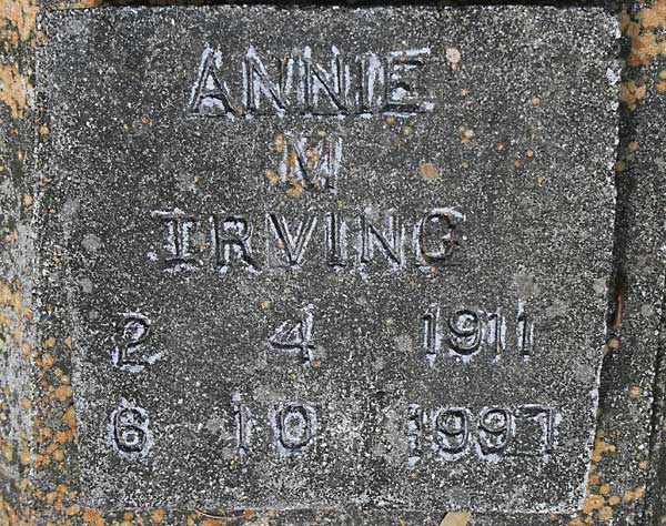 ANNIE N. IRVING Gravestone Photo
