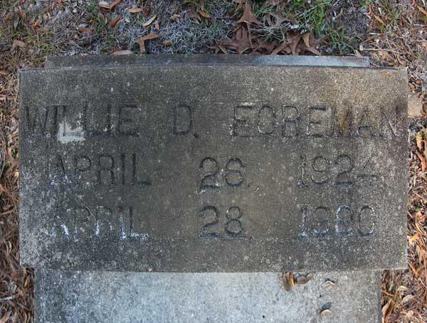 Willie D. Foreman Gravestone Photo