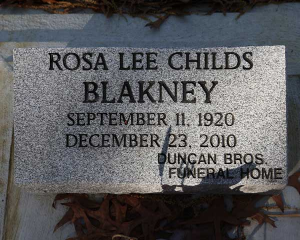Rosa Lee Childs Blakney Gravestone Photo