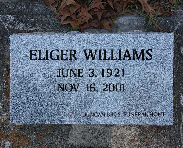 Eliger Williams Gravestone Photo