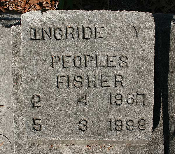 Ingride Y. Peoples Fisher Gravestone Photo