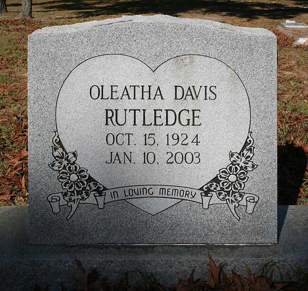 Oleatha Davis Rutledge Gravestone Photo