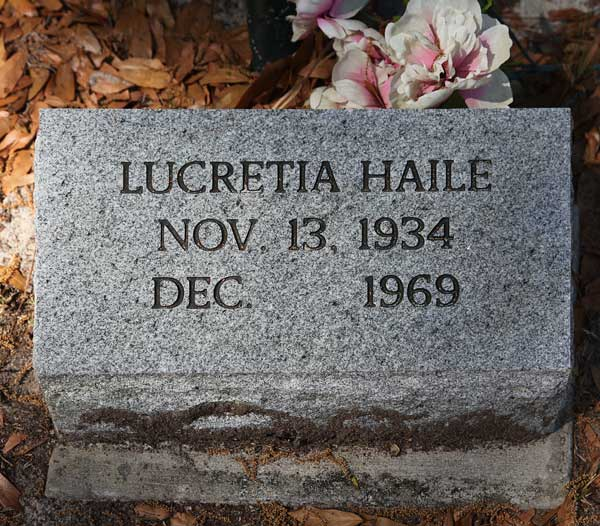 Lucretia Haile Gravestone Photo