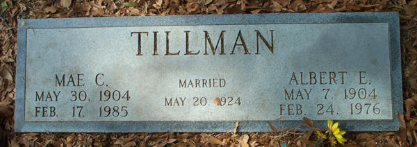 Mae C. & Albert E. Tillman Gravestone Photo