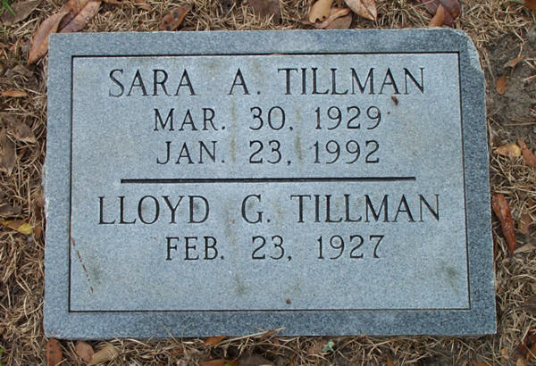 Sara A. & Lloyd G. Tillman Gravestone Photo