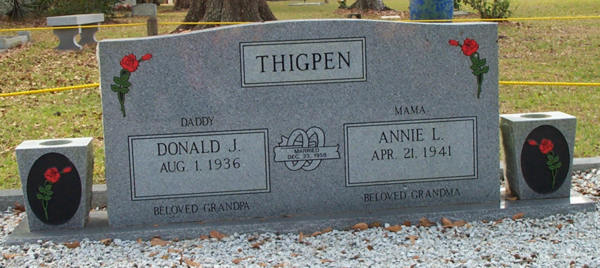 Donald J. & Annie L. Thigpen Gravestone Photo