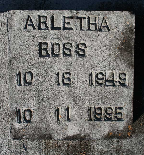 Arletha Ross Gravestone Photo
