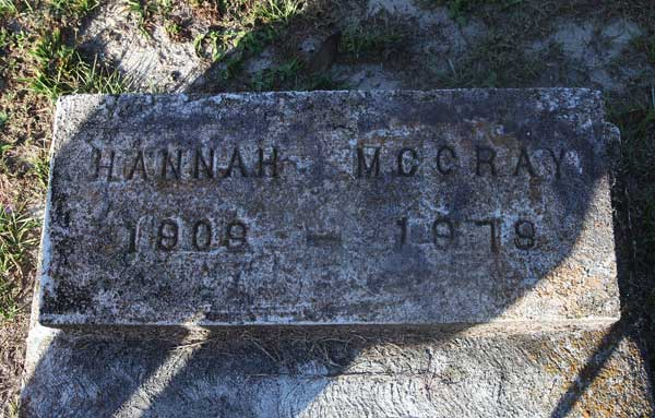 Hannah McCray Gravestone Photo
