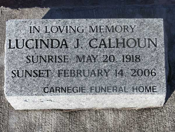 Lucinda J. Calhoun Gravestone Photo