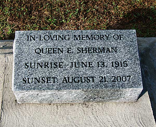 Queen E. Sherman Gravestone Photo