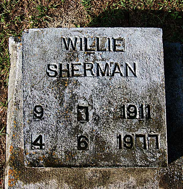 Willie Sherman Gravestone Photo