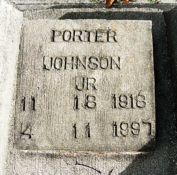 Porter Johnson Gravestone Photo