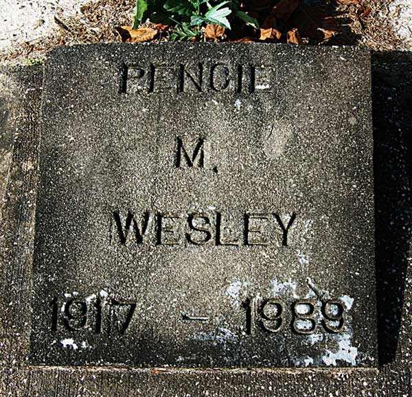Pencie M. Wesley Gravestone Photo
