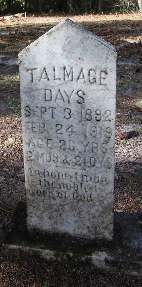 Talmage Days Gravestone Photo