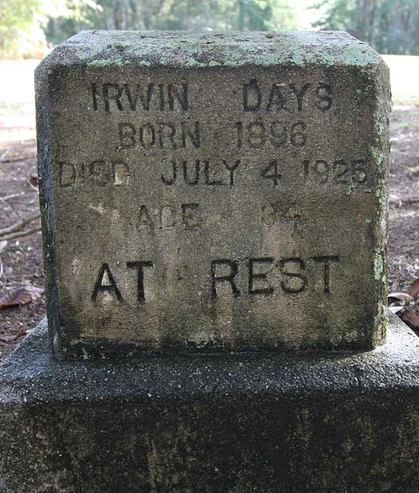 Irwin Days Gravestone Photo