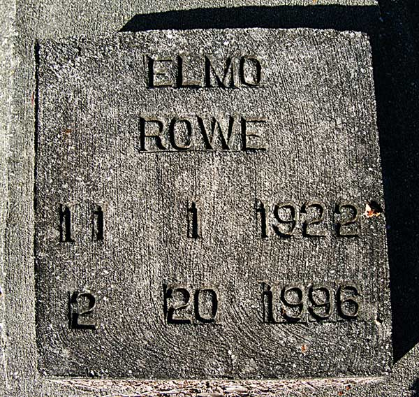 Elmo Rowe Gravestone Photo