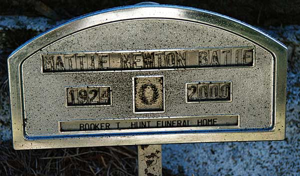 Mattie Newton Batie Gravestone Photo