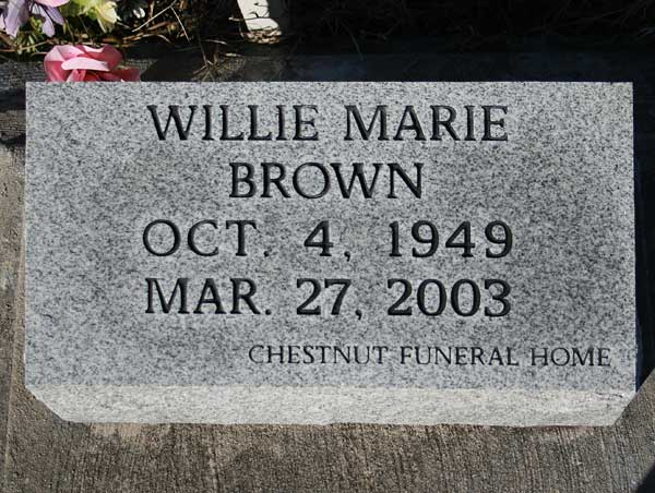 Willie Marie Brown Gravestone Photo