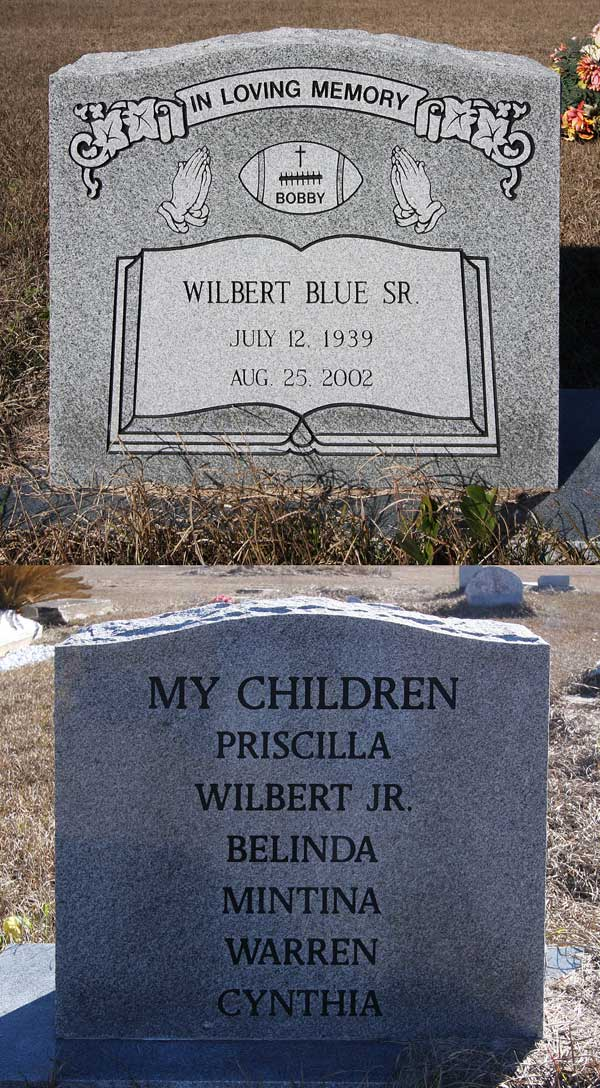 Wilbert Blue Gravestone Photo