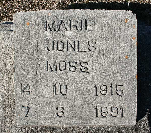 Marie Jones Moss Gravestone Photo